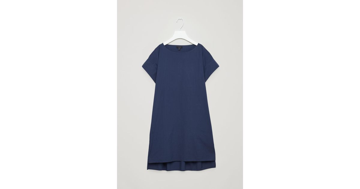 78500a89bc2ef Lyst - COS Trapeze Dress With Back Drape in Blue
