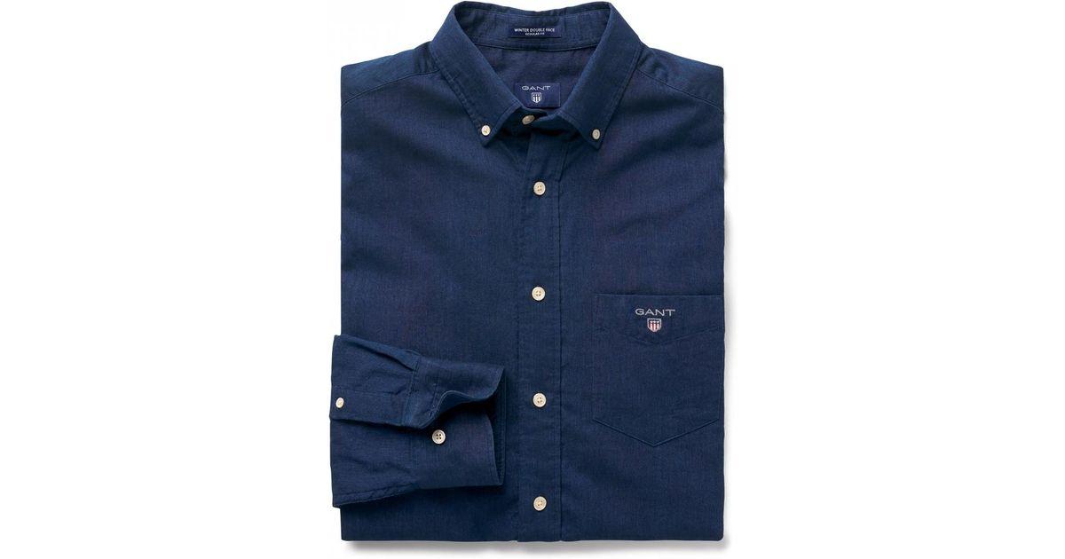 448e73e6c16 Gant Winter Double Face Regular Fit Mens Shirt in Blue for Men - Lyst