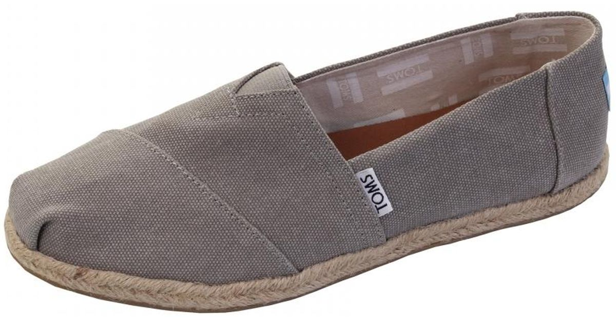 637a786e184 Lyst - TOMS Alpargata Drizzle Grey Washed Canvas Rope Sole Womens  Espadrille in Gray