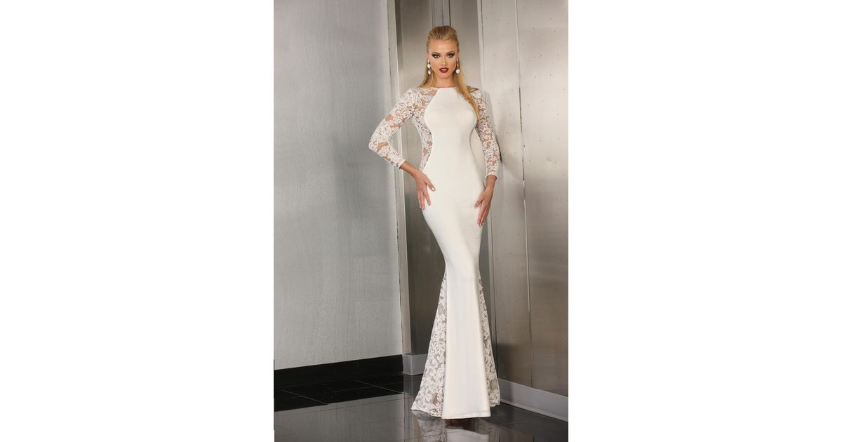 Lyst - Xcite Prom Long Sleeves Lace Long Dress in White
