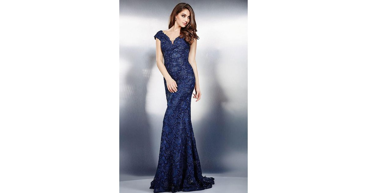 d2ac660c21f4 Lyst - Jovani Classy Beaded Lace V-neck Sheath Gown With Cap Sleeves 26355  in Blue