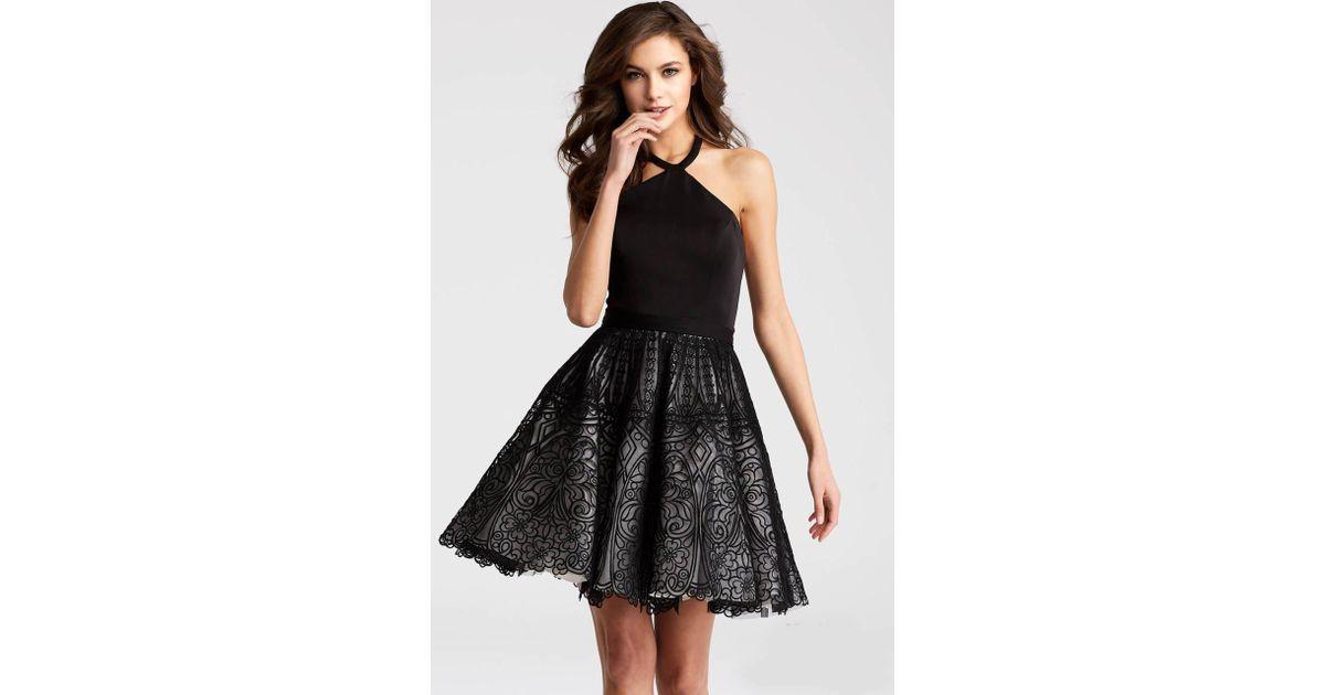 1d078a92babd Lyst - Jovani Jvn58127 Halter Neck Sleeveless Short Dress in Black