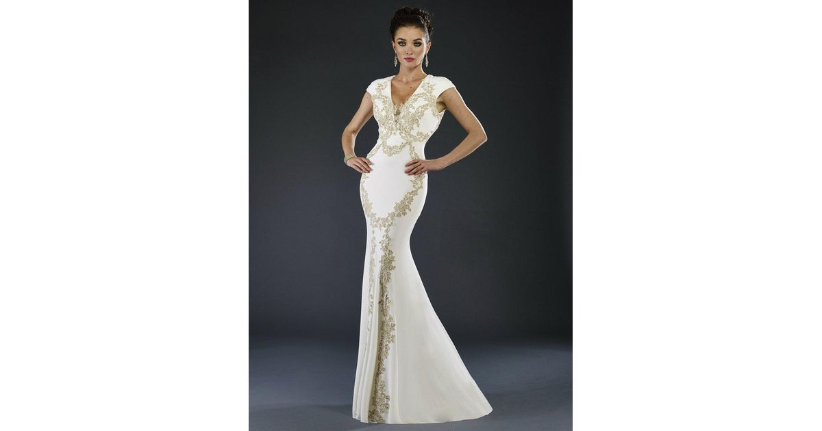 Lyst - Janique K6513 Dress In White Gold in White