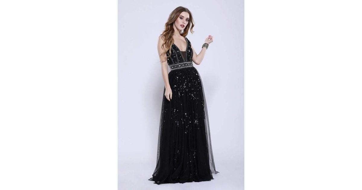 eb073cb875 Lyst - Shail K 12103 Plunging V-neck Embellished Tulle Gown in Black