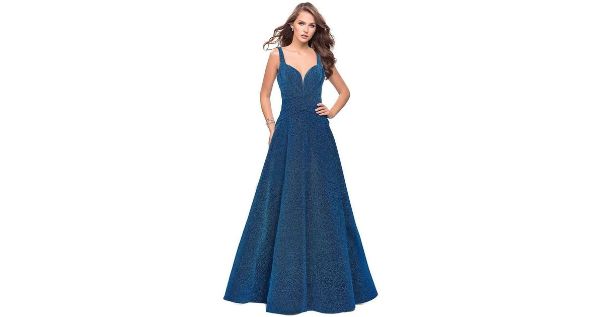 49c452291e0 Lyst - La Femme 26325 Sparkling Sweetheart Ruched Mikado A-line Gown in Blue