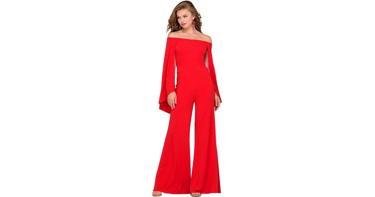 98a04cdafd5 Lyst - Jovani Off Shoulder Jersey Jumpsuit 39598 1 Pc Burgundy In Size 0  Available in Red
