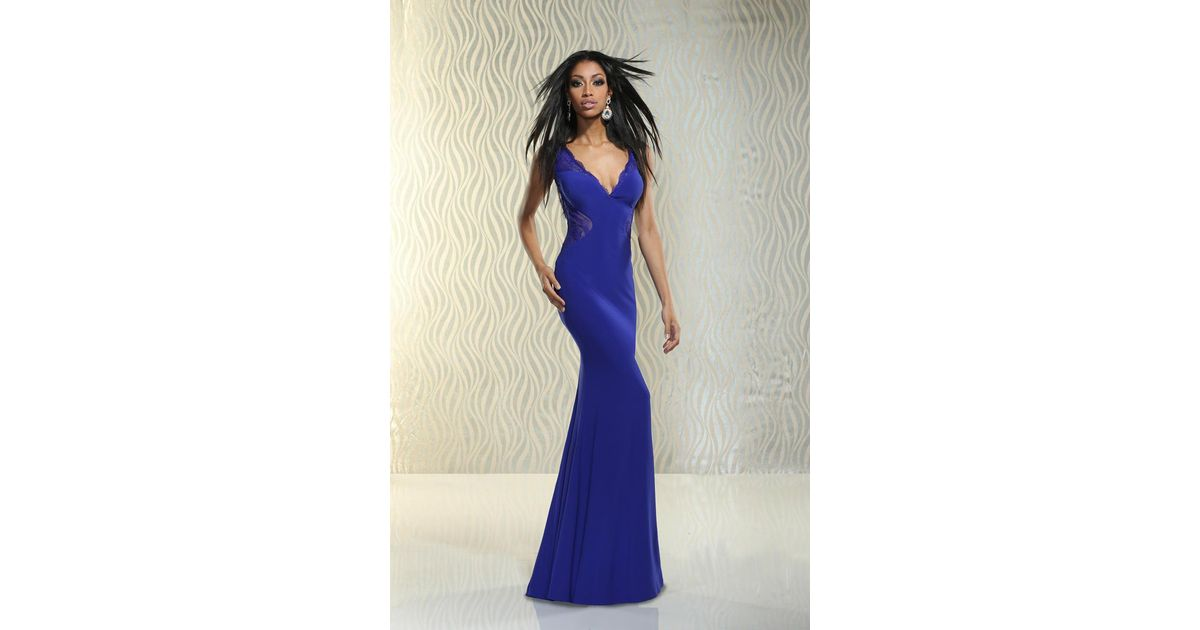 Lyst - Xcite Prom Deep V-neckline With Illusion Sides Gown in Purple