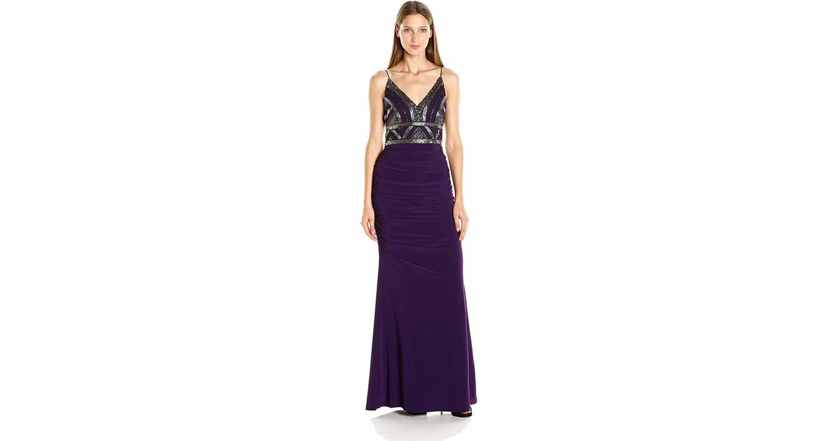 0fd4ece6 Lyst - Adrianna Papell Ap1e200204 Embellished V-neck Ruched Sheath Dress in  Purple