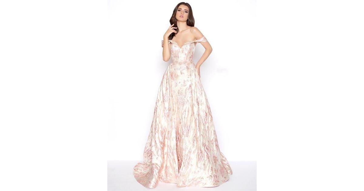 7972fdb8f906 Mac Duggal 79195d Off-shoulder Metallic A-line Evening Gown in Pink - Lyst