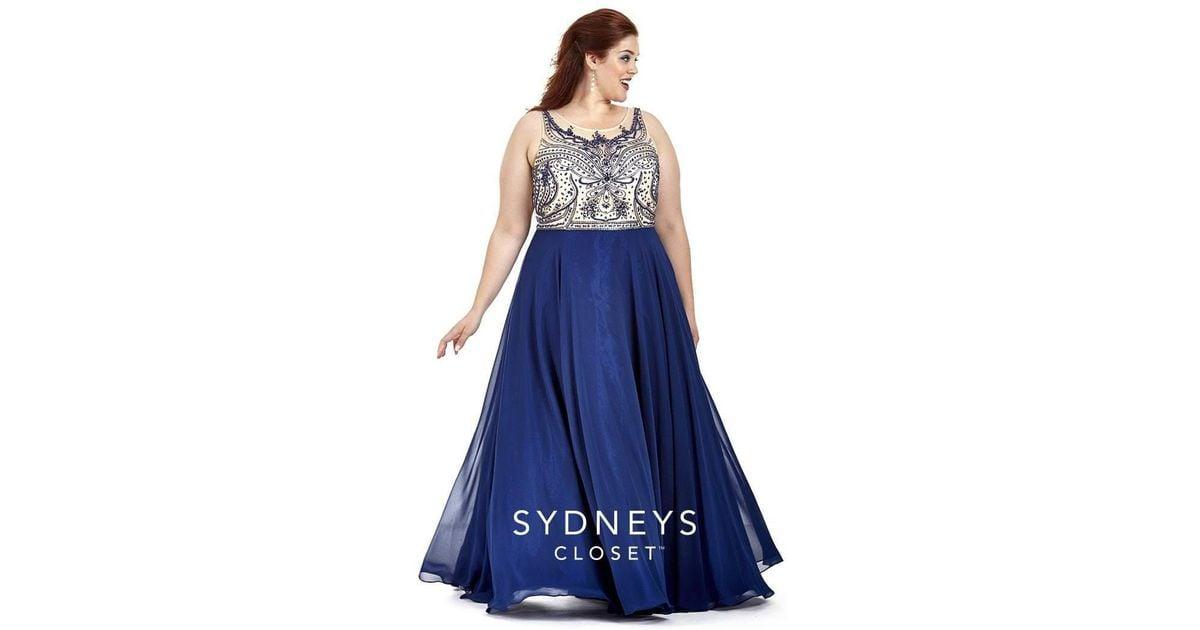 f9b464ebbb6 Lyst - Sydney S Closet Sc7177 Plus Size Dress In Navy in Blue