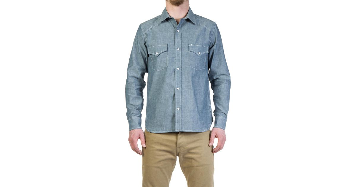 c7f851eb52be Rogue Territory Western Shirt Light Indigo Chambray in Blue for Men - Lyst