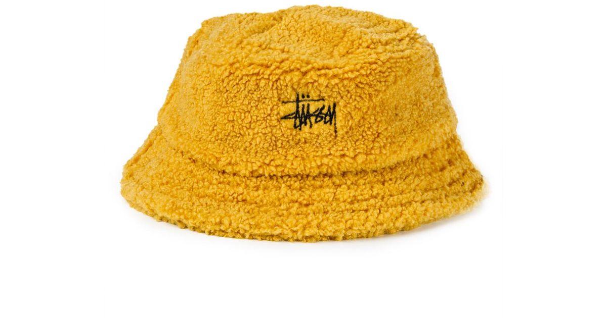 Lyst - Stussy Sherpa Fleece Bucket Hat in Yellow for Men feb9f217f45