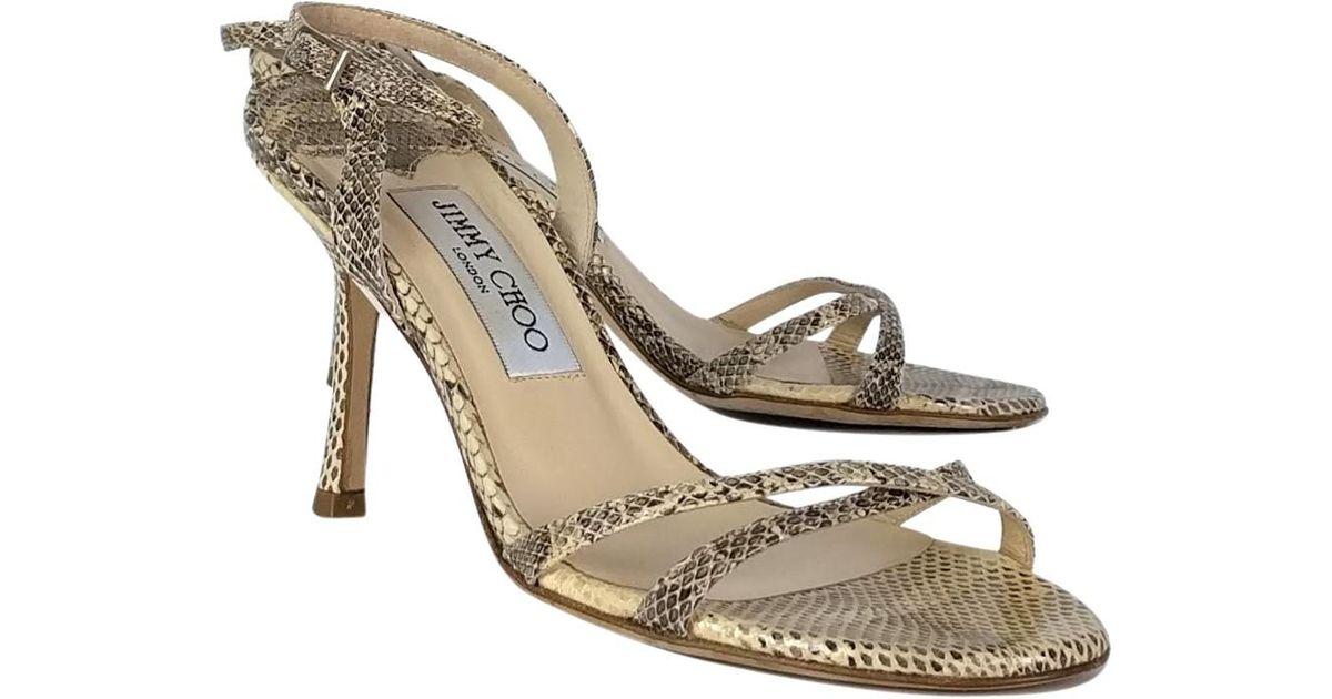 9a244140de2244 Lyst - Jimmy Choo Snakeskin Strappy Sandals