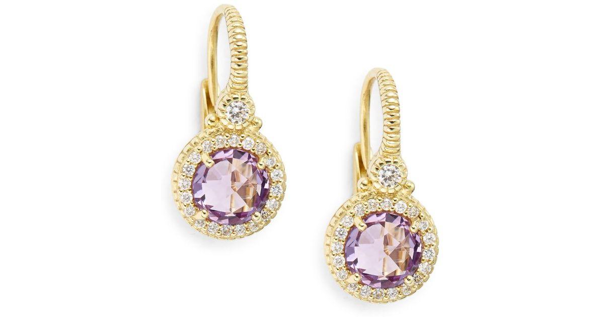 Lyst Judith Ripka La Pee Amethyst Diamond 18k Yellow Gold Drop Earrings In Metallic