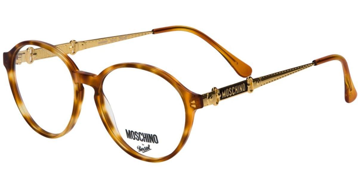 Lyst - Moschino Round Frame Glasses in Metallic