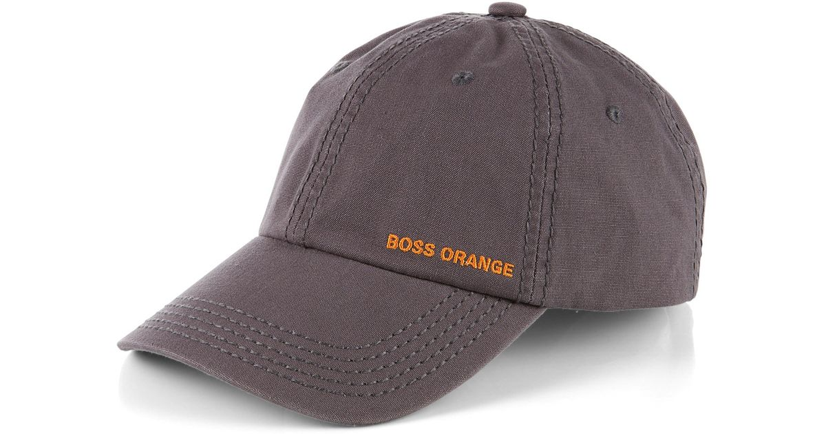 07f96021 BOSS Orange Cotton Cap 'Forcano-10' in Gray for Men - Lyst