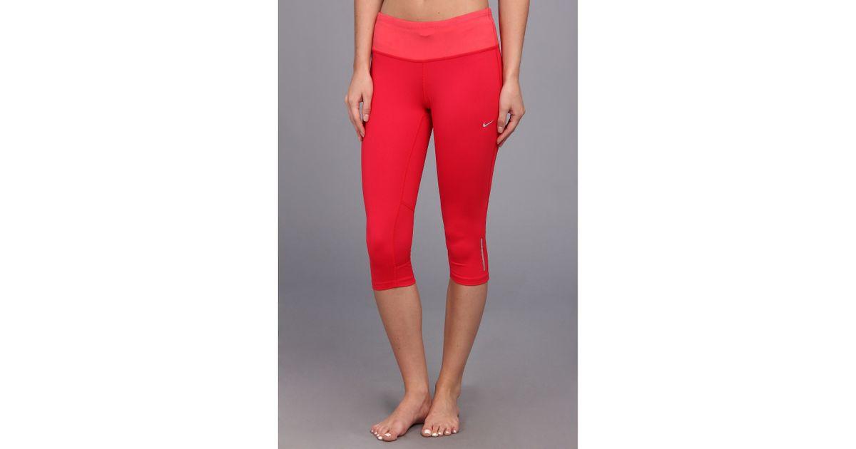 bae27fa515 Nike Drifit Epic Run Capri in Red - Lyst