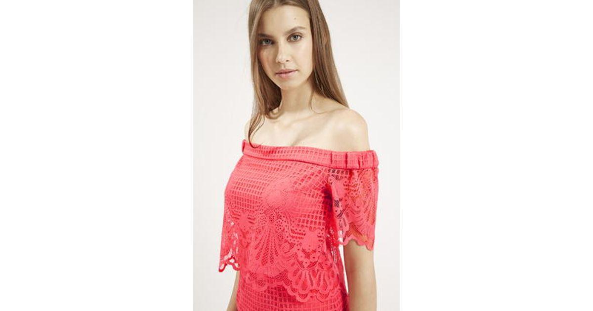 b36612fa8eb3 Lyst - TOPSHOP Tall Bardot Lace Dress in Red