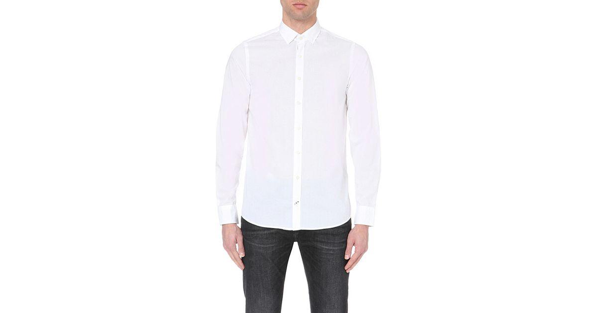 tommy hilfiger slim fit cotton shirt in white for men lyst. Black Bedroom Furniture Sets. Home Design Ideas