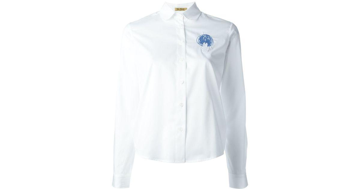 Peter jensen peter pan collar embroidered shirt in white for White cotton shirt peter pan collar