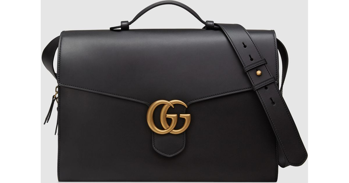 281bff64ac3d Gucci GG Marmont Leather Briefcase in Black for Men - Lyst