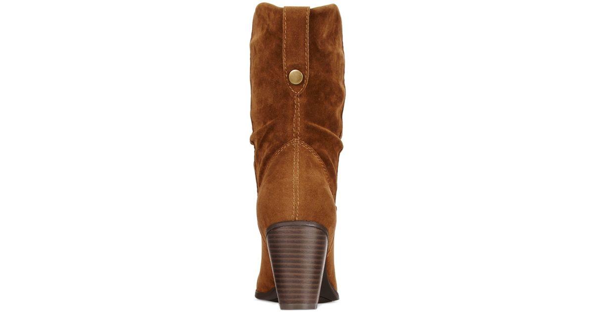 rage trixen slouchy western booties in brown cognac