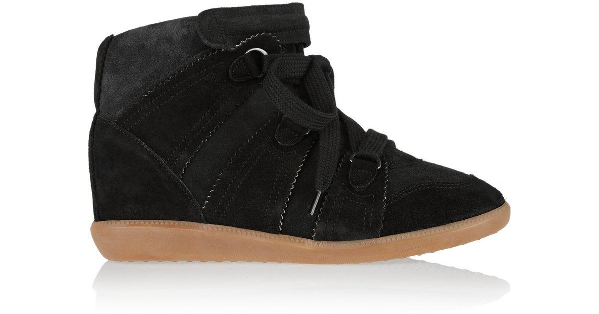8c09f8fc63 Isabel Marant Bluebel Suede Wedge Sneakers in Black - Lyst
