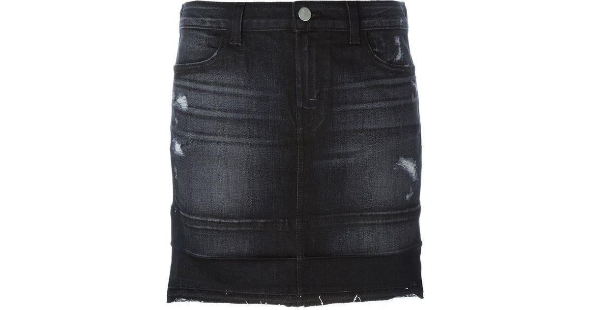 j brand mini denim skirt in blue grey save 20 lyst