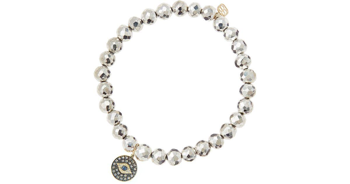 Sydney Evan Champagne Pyrite Beaded Bracelet with Ruby & Turquoise Evil Eye Charm aLMKJ