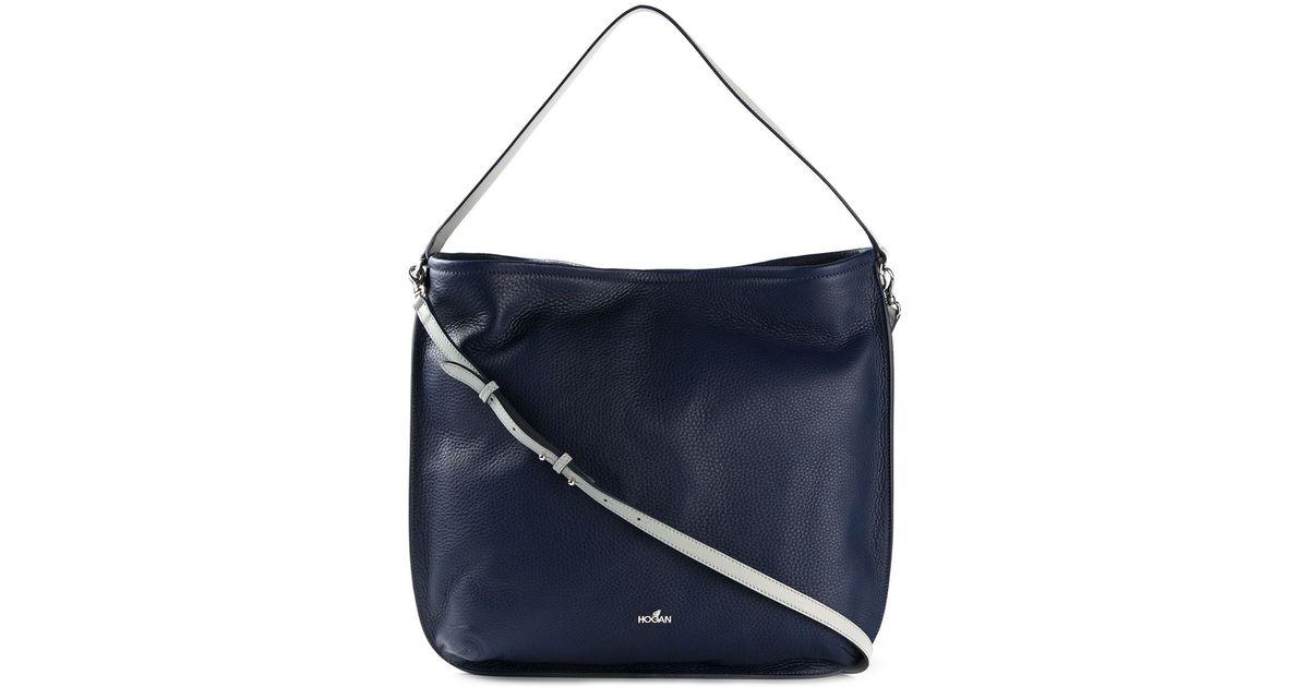 Lyst - Hogan Leather Hobo Bag in Blue dc67ffc7163e1