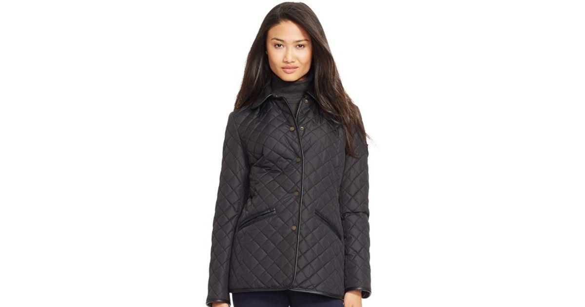 14d141ec1b0d Lauren by Ralph Lauren Faux Leather & Shearling Trim Quilted Jacket in  Black - Lyst
