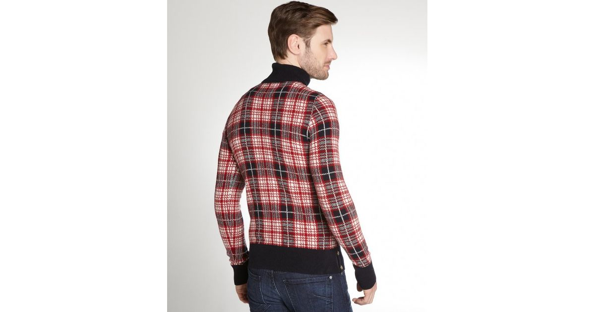 Lyst - Moncler Gamme Bleu Red Glen Plaid Wool Turtleneck Sweater in Red for  Men