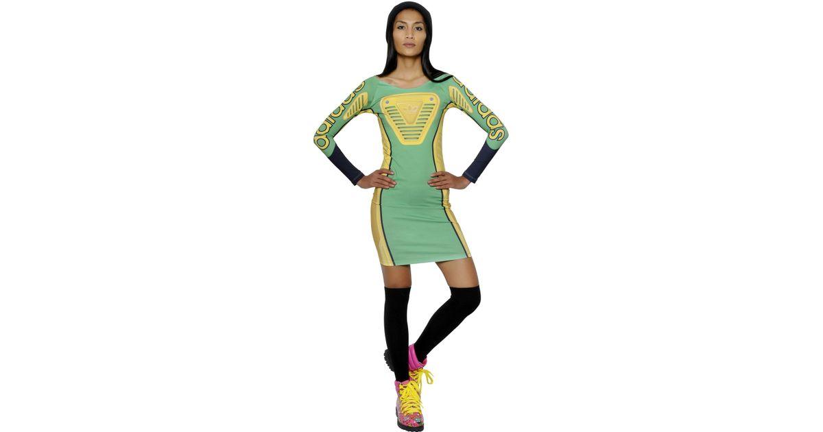 Lyst - Jeremy Scott for adidas Printed Jersey Moto Dress in Green 7e360e33e360