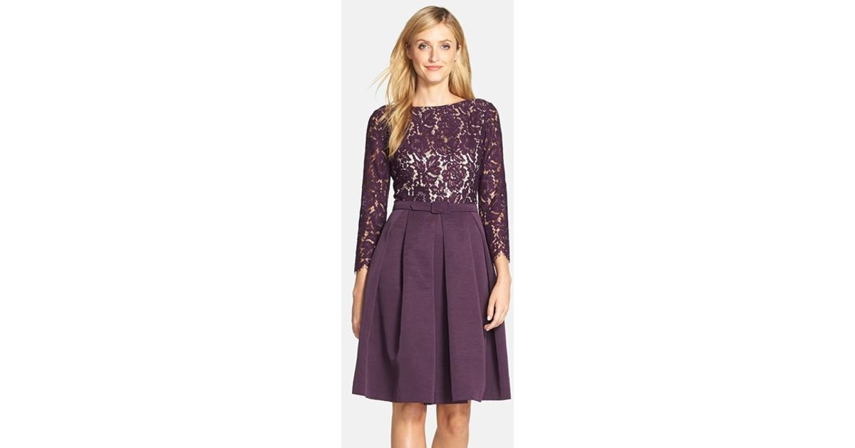 f0904a27 Eliza J Pleated Faille and Lace Dress in Purple - Lyst