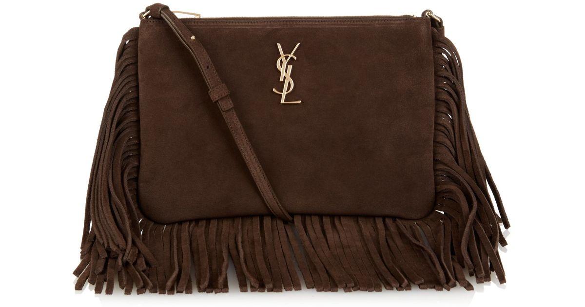 yves saint laurent cassandre bag - Small Monogram Saint Laurent Fringed Crossbody Bag In Brown Suede ...