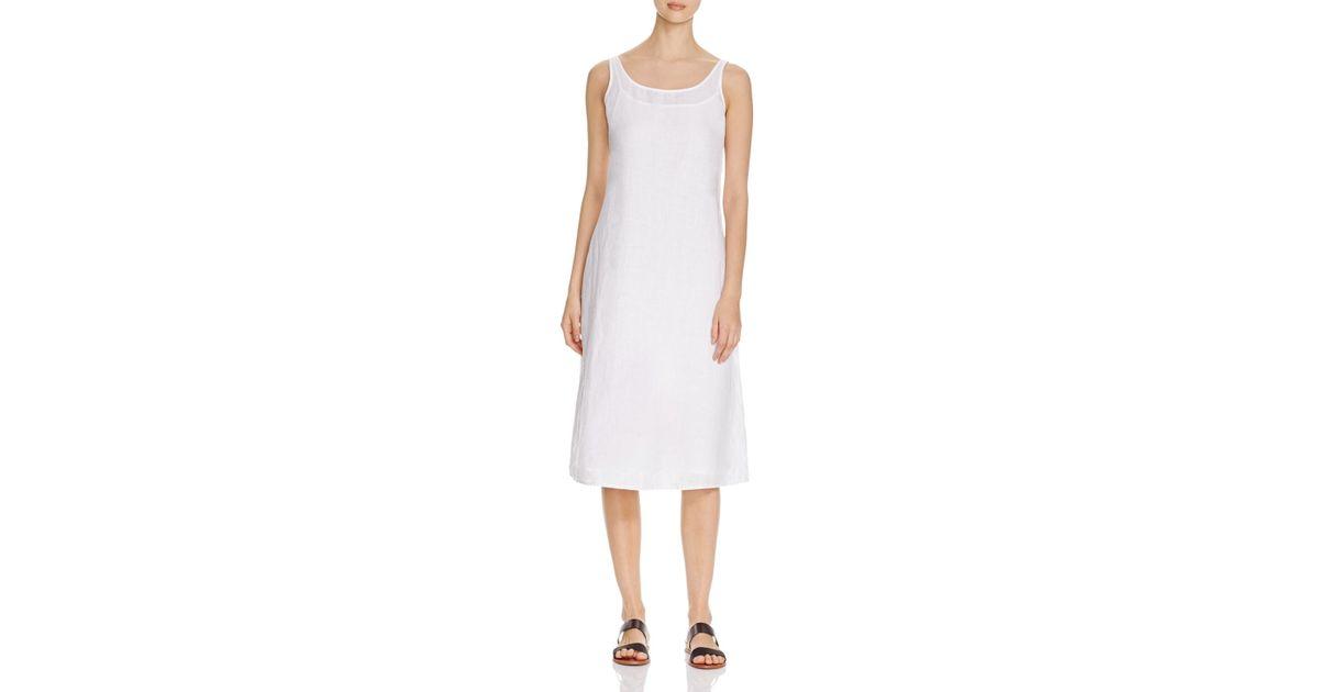 Long White Cotton Tank Dress