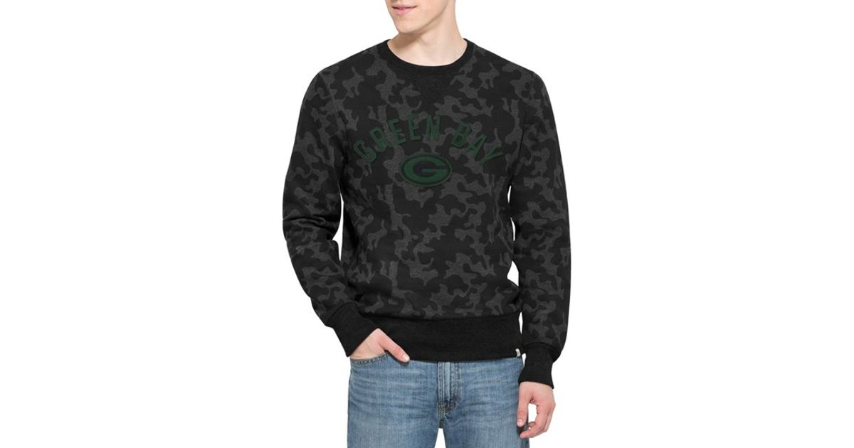 48517cec1 Lyst - 47 Brand  green Bay Packers - Stealth  Camo Crewneck Sweatshirt