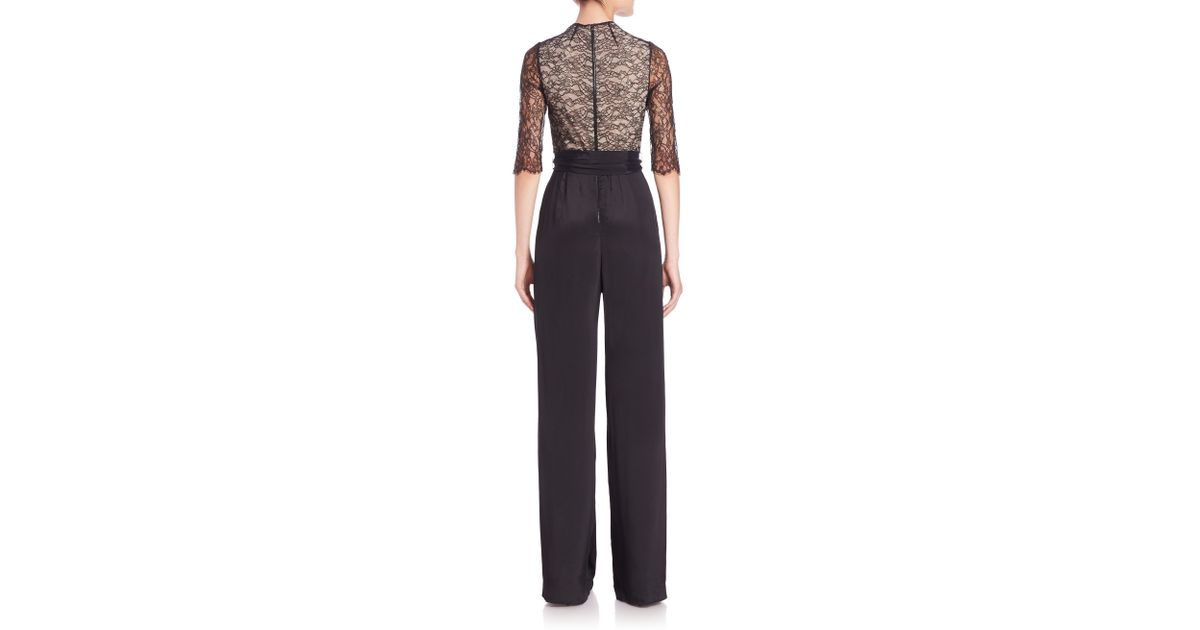 164bb93ff940 Lyst - Alice + Olivia Rona High-neck Lace-trim Jumpsuit in Black