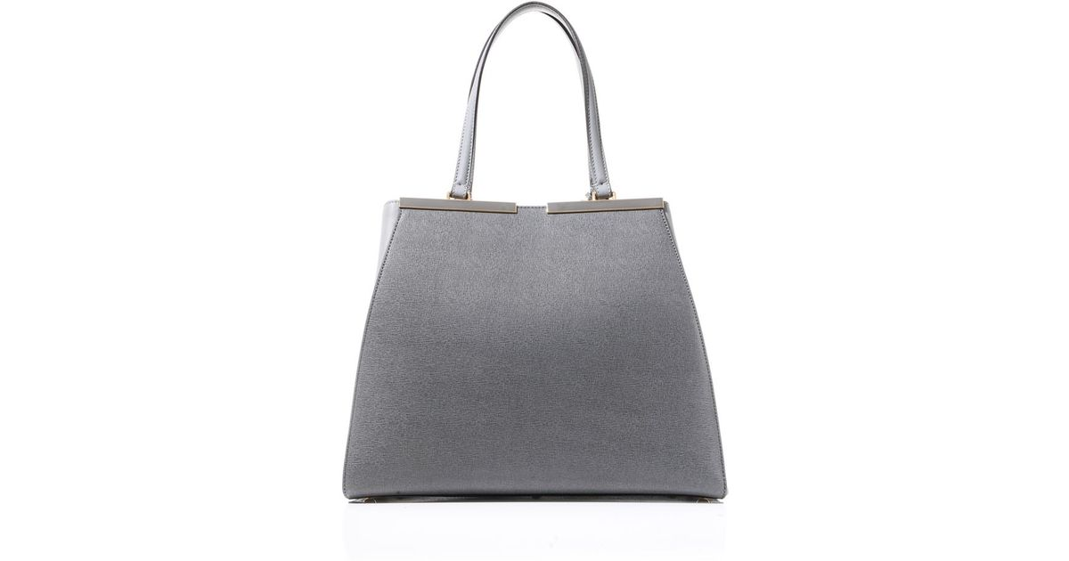 Lyst - Fendi 3jours Trapeze Wing Leather Tote in Gray 234230ded9878