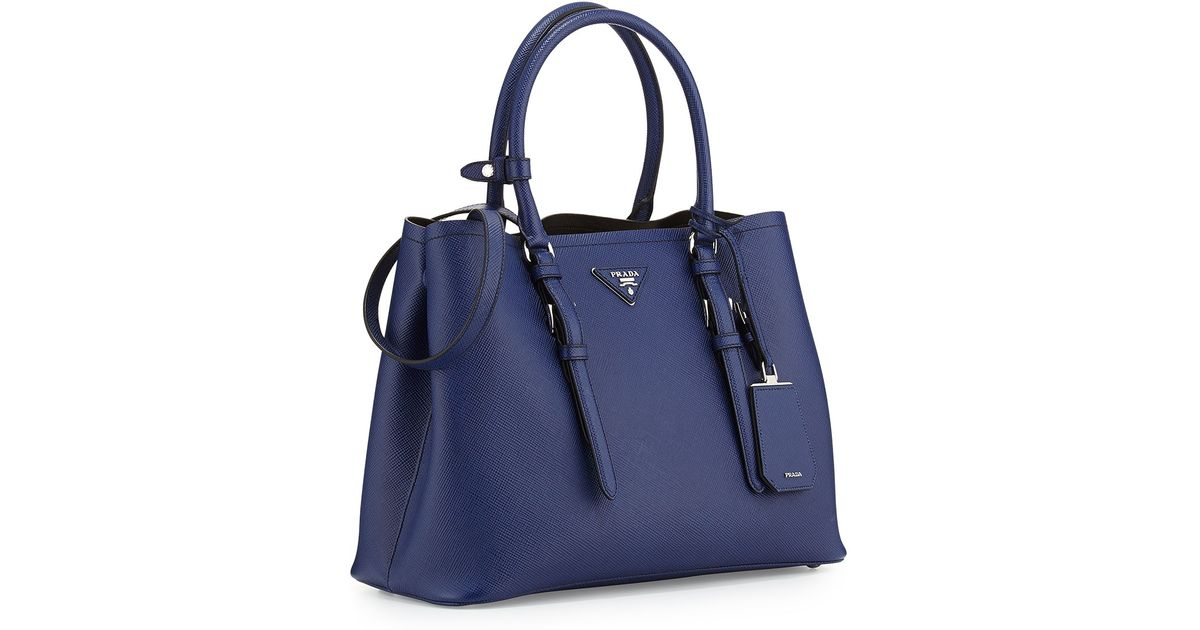 79f931e44221 ... uk lyst prada saffiano cuir covered strap double bag in blue fa3ce c5f7d