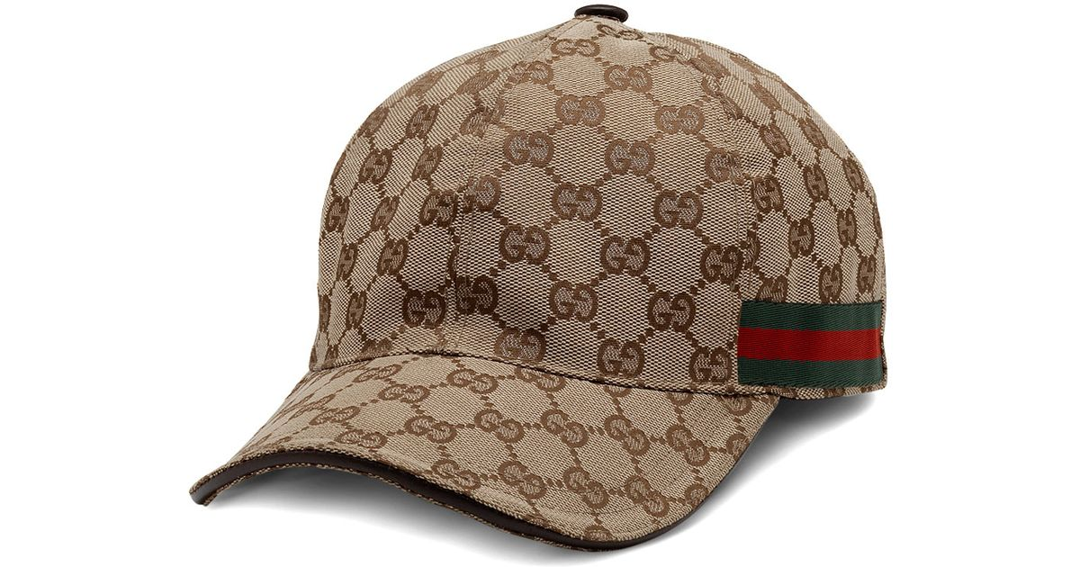 Lyst - Gucci Canvas Baseball Hat in Brown for Men 26fe9911600