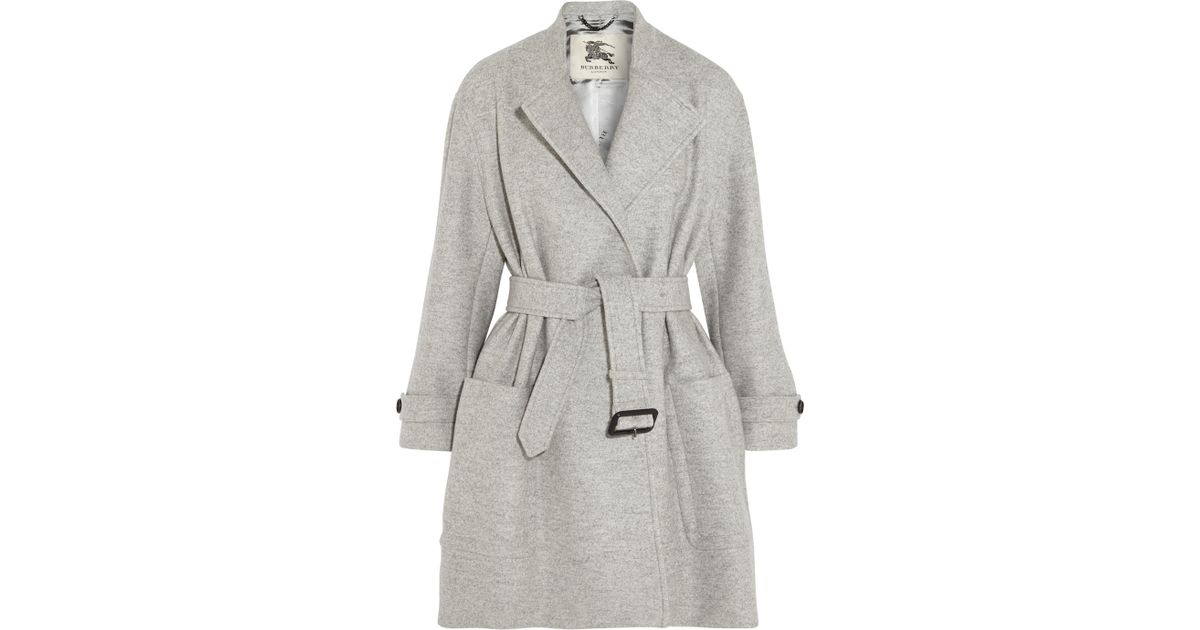 04bf6ba48daf7 Lyst - Burberry Belted Wool Coat in Gray