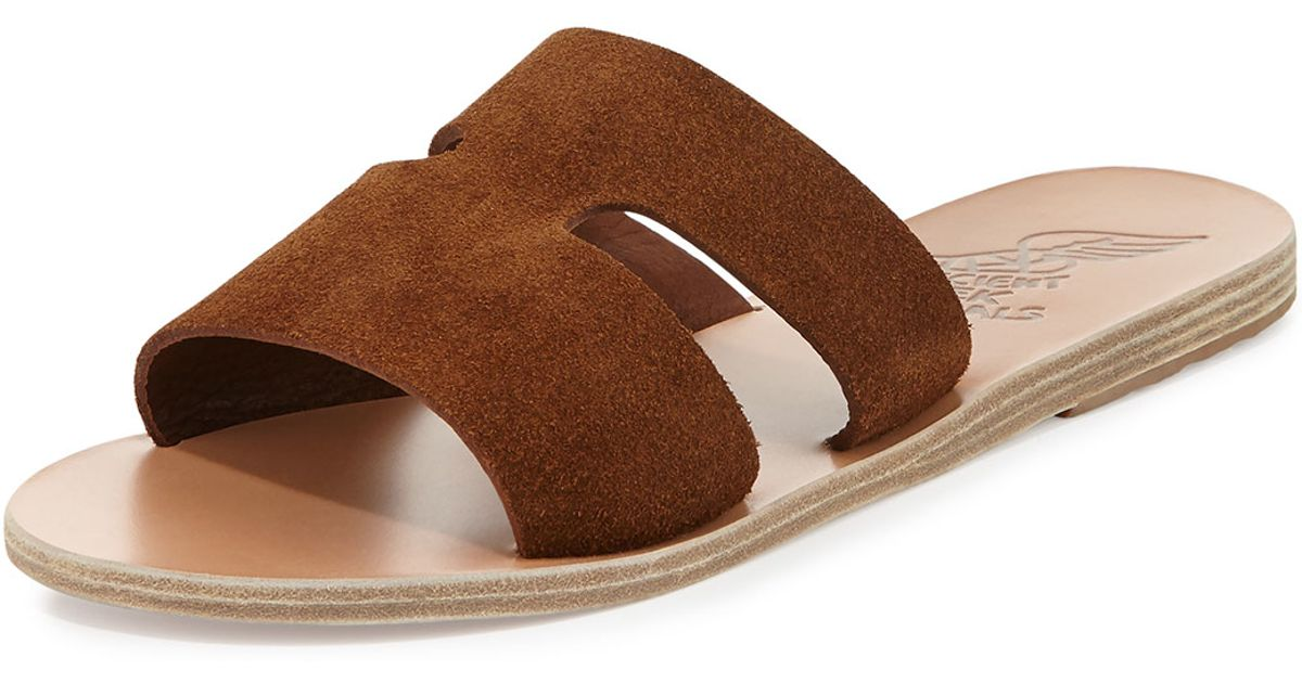 7399a1020c9c Ancient Greek Sandals Apteros Double-Band Slides in Brown - Lyst