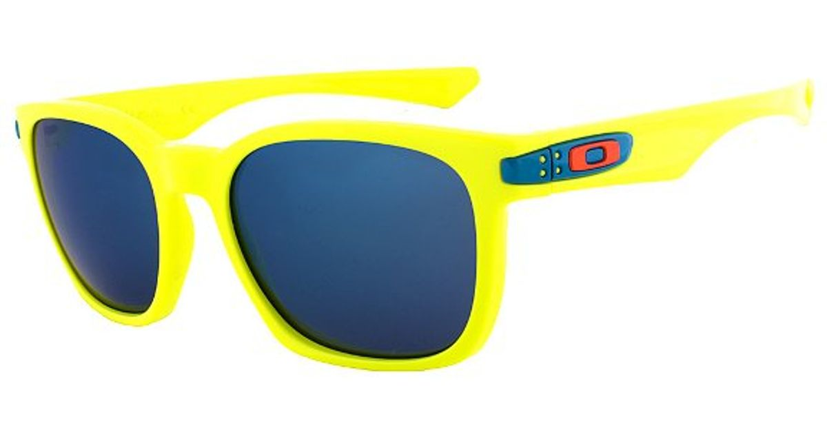 oakley garage rock wayfarer sunglasses oo 9175 14 neon yellow frame ice iridium lens in yellow lyst
