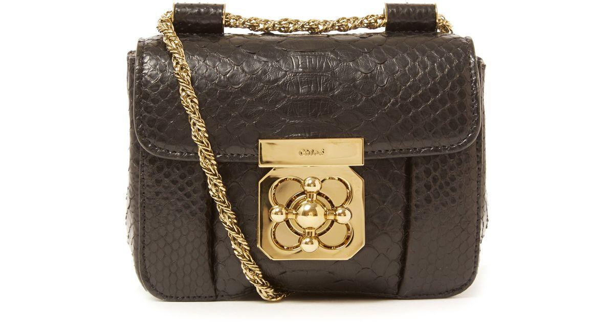 clohe bag - Chlo�� Mini Black Elsie Python Leather Bag in Black | Lyst