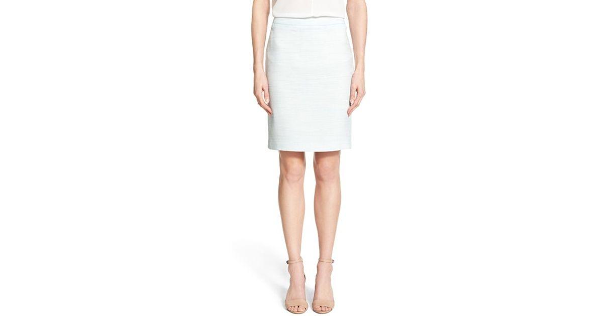 halogen welt pocket pencil skirt in white lyst