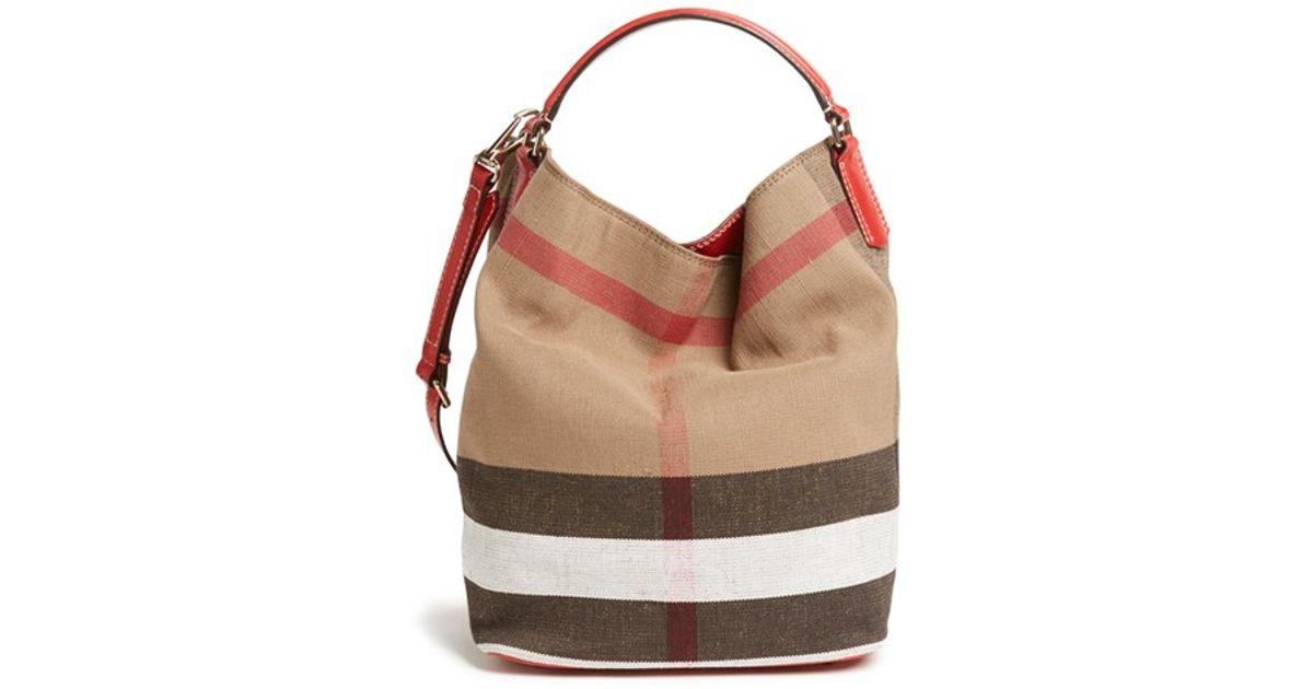 7bf16568a1 Burberry Brit 'susanna - Medium' Bucket Bag in Red - Lyst