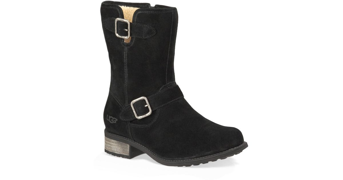 72d22849f40 Ugg - Black Chaney Suede & Pure Moto Boots - Lyst