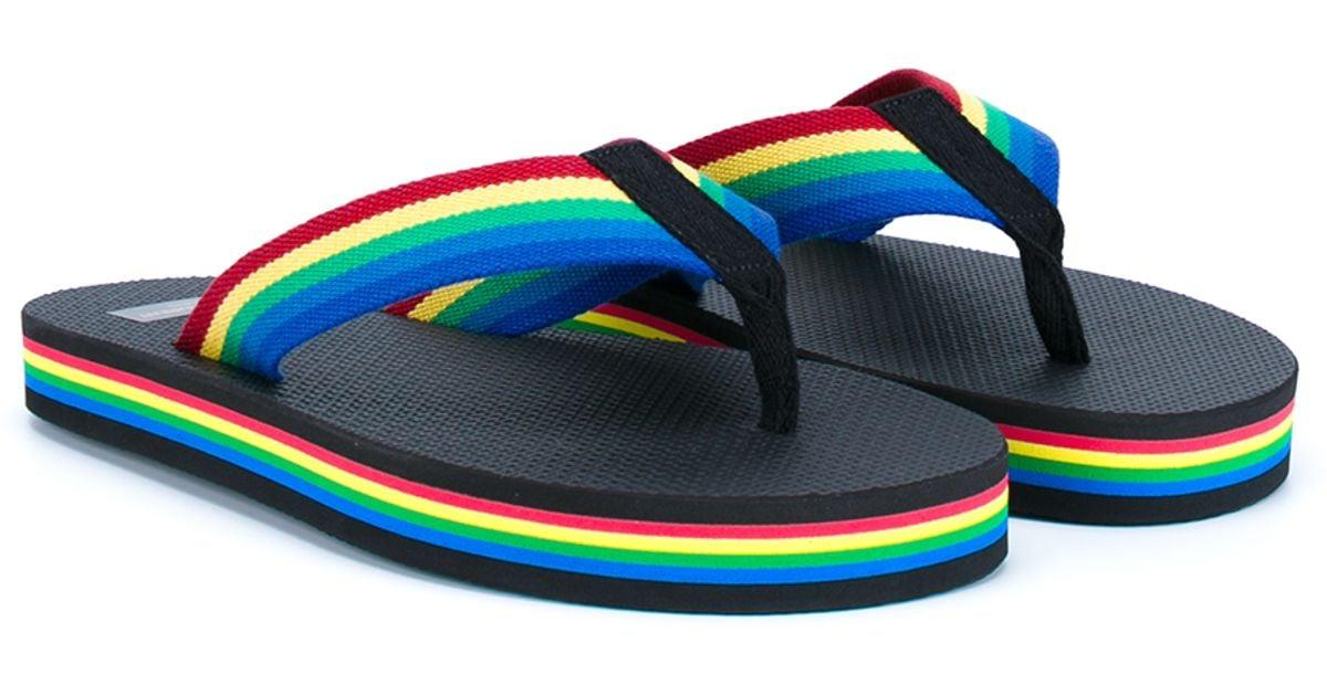Lyst - Saint Laurent Rainbow Flip-Flops In Black-2151