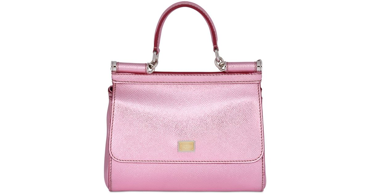 Lyst - Dolce   Gabbana Small Sicily Lamé Dauphine Leather Bag in Pink 68e7680aaf
